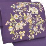 結城紬の無地グレーにおすすめ!岡重染め名古屋帯紫色が安い!
