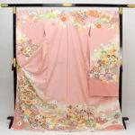 古典柄振袖ピンク色とゴールド帯セットが20万円!振袖長襦袢も