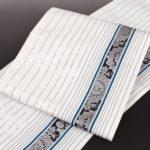 大倉織物モダンな博多帯(白色)が安い!紬や小紋に!50代に