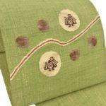 グレー結城紬におすすめ!帯屋捨松の真綿紬八寸名古屋帯(緑色)が安い!