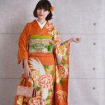 古典柄オレンジ色振袖一式セットレンタル料金が激安9999円!送料無料!