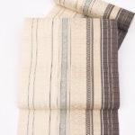 紬に!本場筑前博多織のモダンなの8寸帯(茶・ベージュ)が相場の値段より安い!