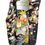 千總(ちそう)振袖黒色が相場より安い!合わせるゴールド梅垣織物振袖帯