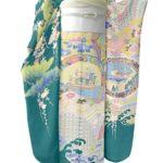 本加賀友禅振袖(緑色)を安く買う方法!合わせる梅垣織物振袖帯!
