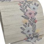 帯屋捨松の桔梗柄夏8寸名古屋帯(灰色)が安い!50代夏紬や小紋に